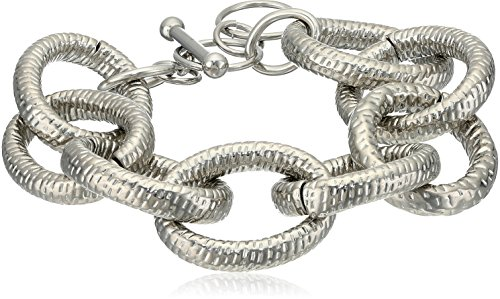 ELYA Jewelry Womens Stainless Steel Large Link Bracelet, White, One Size