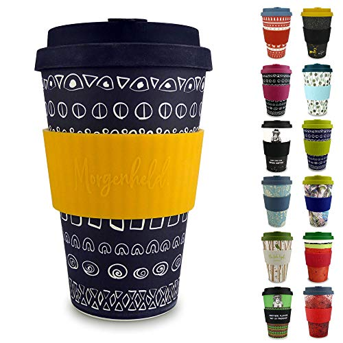 Morgenheld Dein trendiger Bambusbecher | Coffee-to-Go-Becher | Kaffeebecher mit Silikondeckel und Banderole in coolem Design 400 ml (Blacky - sun)