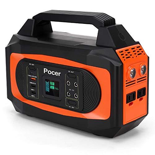 Pocer ポータブル電源 大容量 110000mAh/407Wh 家庭用蓄電池 家庭アウトドア両用バックアップ電源 自家発電機 PSE認証済 ポータブルバッテリー 純正弦波AC(500W 瞬間最大750W)/DC/USB/Type-C出力 四つの充電方法