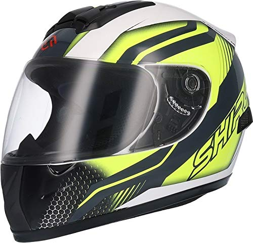 Shiro - Casco SH829 Motegi Kids niño color Negro,Blanco y Amarillo Talla YL 54cms