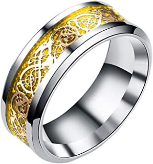 Evangelia.YM Unisex Eternity Rings Vintage Twist Dragon Pattern Xmas Gifts - Fashion Wild Temperament Tail Rings 4 Colors Size 6-13 (Gold, 7)