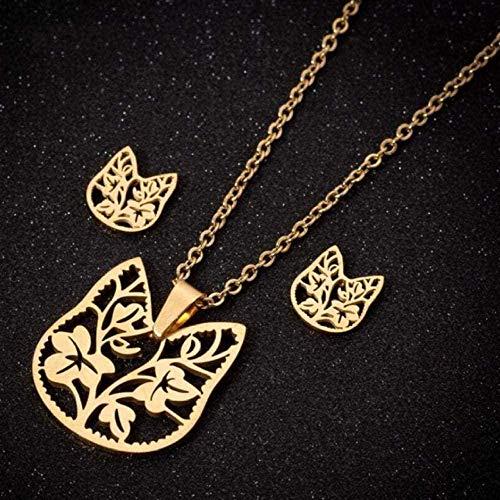 Yiffshunl Collar de Acero Inoxidable para Mujer, Collar de Plumas, Cadena de Oro, Conjuntos de Joyas para Mujeres, niñas, niños, joyería, Collares de águila, Collar de Regalo