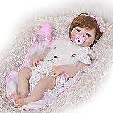 YJF Reborn Baby Dolls Blue Eyes Girl 22'/ 55cm Silicone Full Body Réaliste Lavable À La Main Nouveau-Né Reborn Babies Toddler Doll Cadeaux De Noël