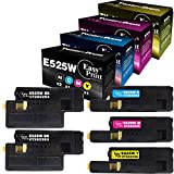 (2X BK+C+M+Y) 5-Pack Compatible Toner Cartridge Replacement for Dell E525W E525 for Dell E525W Wireless Color Laser Printer for 593-BBJX 593-BBJU 593-BBJV 593-BBJW, Sold by EasyPrint