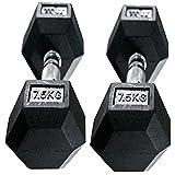 DINKALEN Juego de pesas de 7,5 kg para pesas de mano hexagonales de goma para entrenamiento