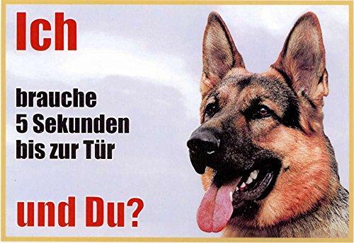 Waarschuwingsbord Duitse herderhond zijaanzicht 001 ca. 21 x 15 cm, gelamineerd, waterafstotend, motief: ik heb 5 seconden nodig tot aan de deur en je? Geschikt voor binnen en buiten.