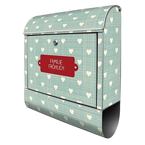 Banjado Design Briefkasten personalisiert mit Motiv WT Muster Herzen | Stahl pulverbeschichtet mit Zeitungsrolle | Größe 39x47x14cm, 2 Schlüssel, A4 Einwurf, inkl. Montagematerial