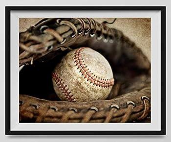 Vintage Baseball in Catchers mit on Vintage Background Baseball Wall art Sports Decor Vintage Baseball Art Baseball Photography Available as print or canvas.