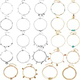Yaomiao 24 Pieces Ankle Bracelet Ankle Chains Beach Foot Bracelet Adjustable Foot Chain Jewelry for Women Girls Party Weddings, 24 Styles (Gold and Sliver)