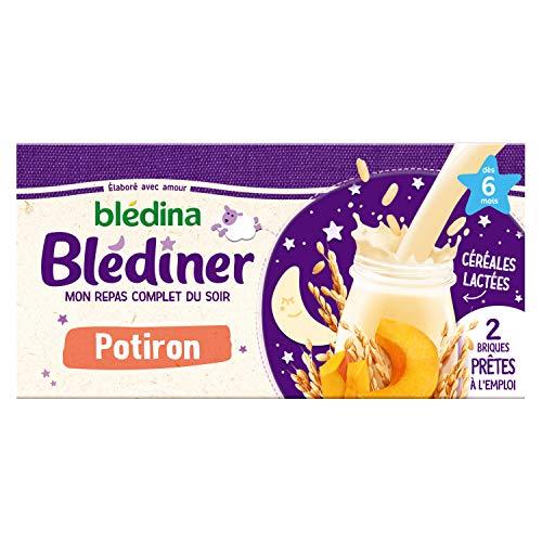Blédina Blédîner Céréales Bébé Lactées, Légumes, Potiron, Dès 6 mois, 2 x 250ml