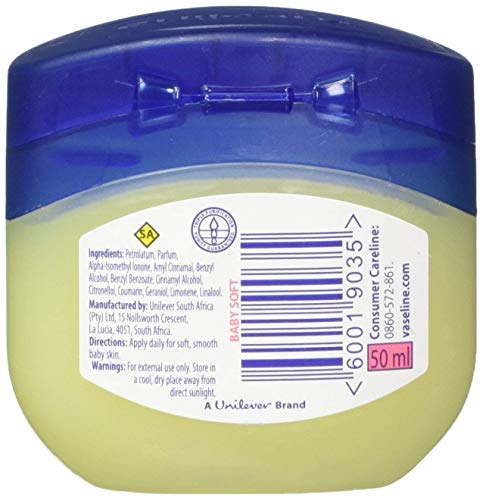 Set of Six Vaseline Baby Gentle Protective Petroleum Jelly-1.7 oz Travel size