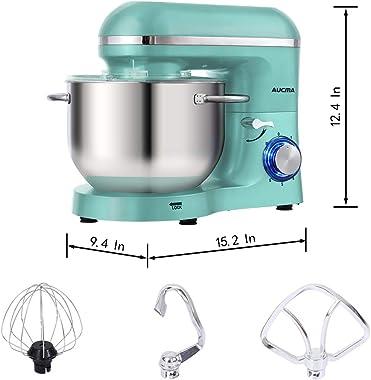 Aucma Stand Mixer,6.5-QT 660W 6-Speed Tilt-Head Food Mixer, Kitchen Electric Mixer with Dough Hook, Wire Whip & Beater (6