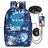 Miarui Mochila de la NASA Unisex Mochila PortáTil para NiñOs Escolar Impermeable Multifuncional con Puerto de Carga USB y Cerradura Acomoda una computadora portátil de 14 Pulgadas,Style2