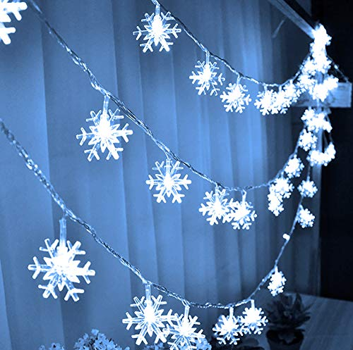 FUNPENY 80 LED Christmas Snowflake String Lights, 32ft Snow Decorative Light with 8 Modes, Battery Operated Christmas Fairy Light for Xmas Party Decor Indoor Outdoor, White (Battery Not Include)