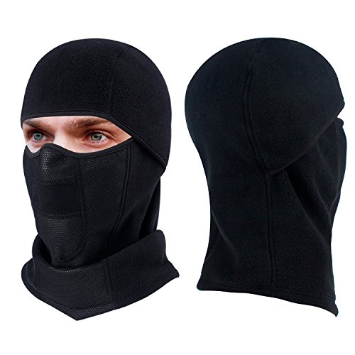 hikevalley Winter Ski Mask, Thicker Motorcycle Balaclava Face Mask Super Warm Fleece Hoodie Extreme Cold Weather Outdoor Sports