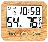 Aoccker Despertador Digital,Tiempo, TermóMetro Interno Digital LCD HigróMetro HigróMetro, El Tiempo Y El Reloj Blanco Pantalla,Amarillo