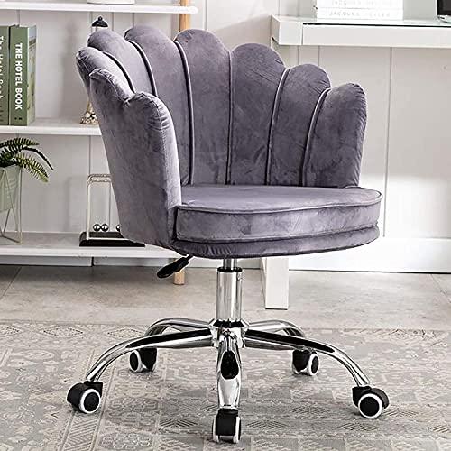 Silla ajustable con pétalo para sala de estar, cama, silla de terciopelo para oficina, silla ergonómica para computadora de maquillaje de 360°, silla de escritorio tapizada Chayelu (color gris)