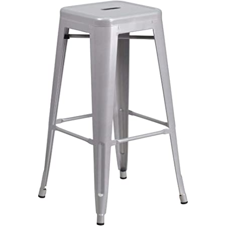 Flash Furniture Commercial Grade 30 High Backless Silver Metal Indoor Outdoor Barstool With Square Seat Furniture Decor
