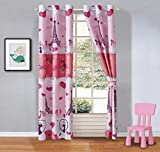Mk Collection 2 Panel Curtain Set Paris Eiffel Tower Bikes Hearts Flowers Pink Hot Pink White Purple New