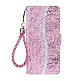 Ailisi Samsung Galaxy A70 Hülle, Glitzer Pailletten Handyhülle Schutzhülle Leder Tasche Hülle Brieftasche, Wallet Flip Cover Klapphüllen Magnetisch Ledertasche Etui mit Kartenslot -Rosa
