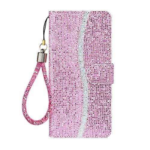 Ailisi Cover Samsung Galaxy A70, Bling Glitter Paillettes Flip Cover Custodia, Protettiva Case Leather Pelle PU Portafoglio con Kickstand, Chiusura Magnetica + 1 pezzo di cordino -Rosa