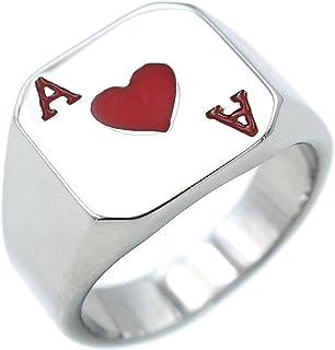 JAJAFOOK Biker Rings For Men Stainless Steel Ring Poker Heart Ace Ring Silver Black Size 7-12