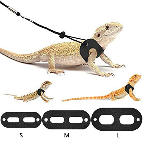 jky Eidechsen Leinen Einstellbare Reptil Eidechse Harness Leine Traktionsseil Trainingsleinen Geschirre Halsbänder Leinen für Bartagame Lguanas Schildkröte Outdoor Walk
