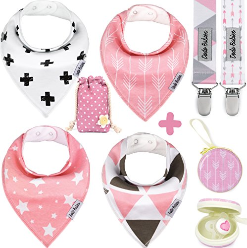 BabyBandana DroolBibs by Dodo Babies For Girls + 2 Pacifier Clips + Pacifier Case in a Gift Bag, Pack of 4 Premium Quality, Excellent Baby Shower / Registry Gift
