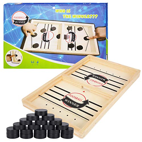 Herefun Tisch Hockey Spielzeug, Interaktive 2-in-1 Eltern-Kind Interaktion Katapult Brettspiel, Tischhockey Holz, Schnell Sling Puck Match-Spiel, Portable Schachbrett-Set, Partyspiele(35 * 22 * 2.5cm)