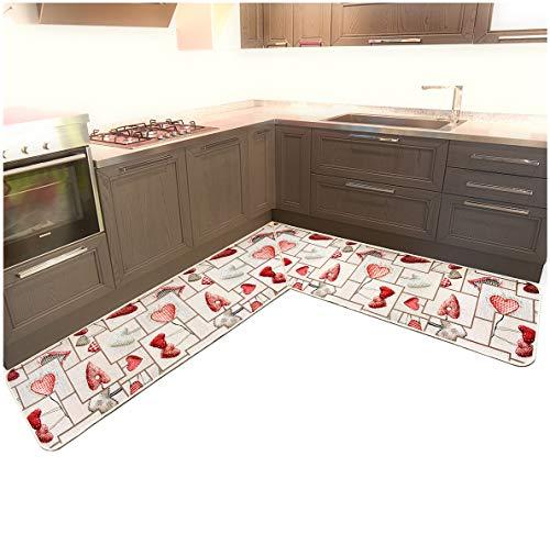 ARREDIAMOINSIEME-nelweb Tappeto Cucina ANGOLARE su Misura Bordato Tessitura Piatta Retro Antiscivolo Contattare Venditore per Info MOD.CHALET16 angolare 10cm Nero (N)