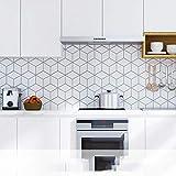 Papel pintado autoadhesivo impermeable Etiqueta engomada Fake Tile Sticker Mosaico Etiqueta de la pared Etiqueta del azulejo Autoadhesivo Papel pintado Impermeable-Costura de diamantes_Los 60cm * 5m