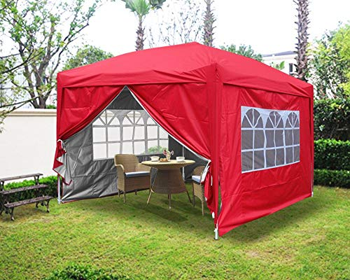 Greenbay 2M x 2M Foldable Pop up Gazebo Sun Protection Event Outdoor Tent With Four Side Panels (Two with Windows) - Red
