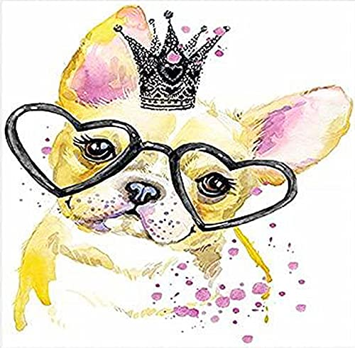 Diamond Painting of Colorful French Bull Dog.Round Drill Art Set for Home Wall Decoration.DIY 5D Diamond Painting Kits for Adults.Diamond Dotz Gift for Family.Frameless.