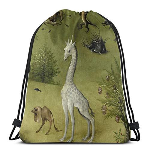 Ameok-Design Hieronymus Bosch Garden of Earthly Delights Detail Schultertasche Kordelzug Tasche Rucksack Schultasche Gym Sport Tasche leicht