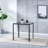 Black Tempered Glass Dining Table for Kitchen Dining Room, Square Coffee Patio Table with Chrome Legs