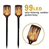 ソーラーガーデンライト屋外風景グラウンドライト、99 LEDソーラートーチライトちらつき火災炎風景屋外ガーデンランプ