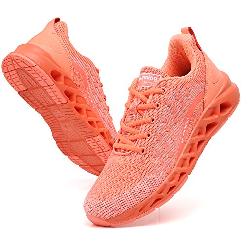 Ezkrwxn Walking Shoes for Women Lightweight Orange Running Shoes Comfort Fashion Gym Sport Shoes mesh Breathable Tennis Casual Shoes Size 8.5