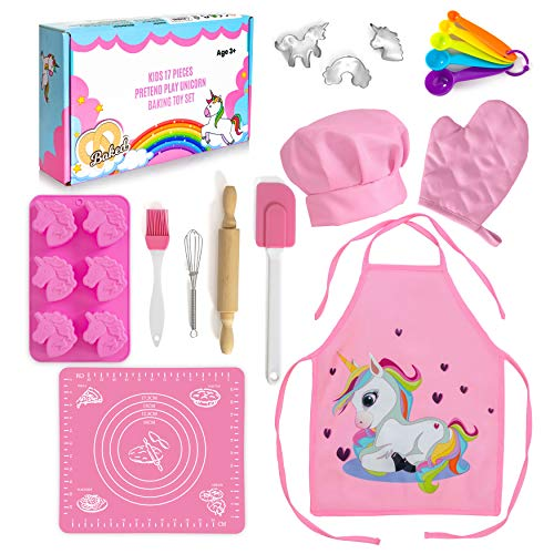 Next Milestones Kids Baking Set - Unicorn-Themed 17-Piece Chef & Baker Role Play Toy Kit for Children - Fun Kitchen & Cooking Kit for Kids - Complete with Utensils Hat & Apron - for 3-7 Year Old