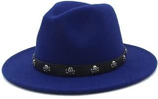 SGJFZD Men's Women' Fedora Hat with Skull Rivet Panama Hat Pop Wide Brim Jazz Hat Church Fascinator Hat Size 56-58CM (Color : Blue, Size : 56-58)