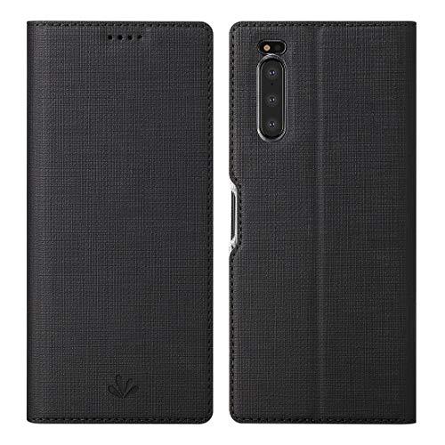 Foluu Sony Xperia 5 Hülle, Flip Folio Wallet Case Slim Premium PU Leder Hülle ID Kreditkartensteckplätze Kickstand Magnetverschluss Klar TPU Bumper Cover für Sony Xperia 5 2019 (Schwarz)