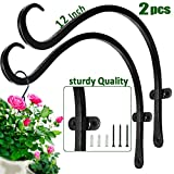 2 Pcs Outdoor Plant Hanger Wall Bracket and 12'' Handmade Forged Curved Lantern Hooks with Triangular...