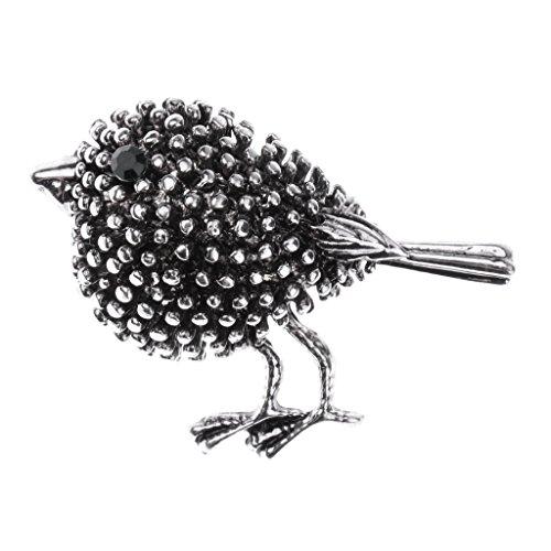 Sharplace Vintage Style Strass Kristall Nähmaschine/Blume/Vögel/Flamingo/Insekt Brosche Pin Tier Brosche Pins Schmuck - Alte Silberne Vogel-Diamant-Brosche