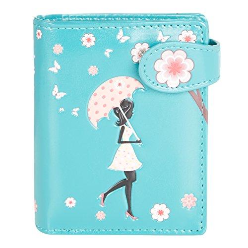 Shagwear ® Portemonnaie Geldbörse Damen Geldbeutel Mädchen Bifold Mehrfarbig Portmonee | Verschiedene Farben und Designs: (Blütenregen Türkis/Blossom Shower)