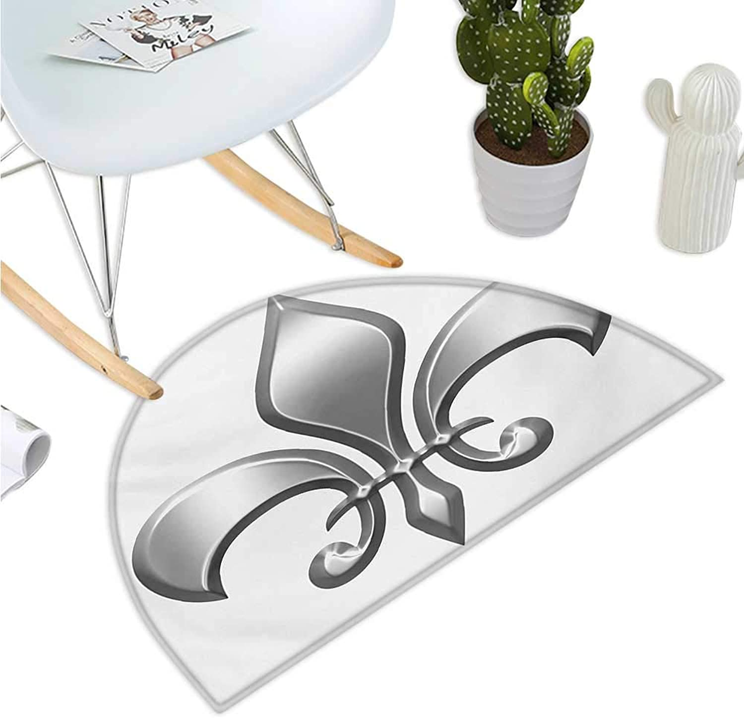 Fleur De Lis Semicircular Cushion Lily Flower Symbol Nobility of Knights in Medieval Time European Iris Icon Halfmoon doormats H 39.3  xD 59  White Silver