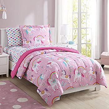 Super Soft Cute Fun and Whimsical Mainstays Kids Rainbow Unicorn With Images of Unicorns Butterflies and Rainbows Girls Bed in a Bag Complete Bedding Set Pink Full