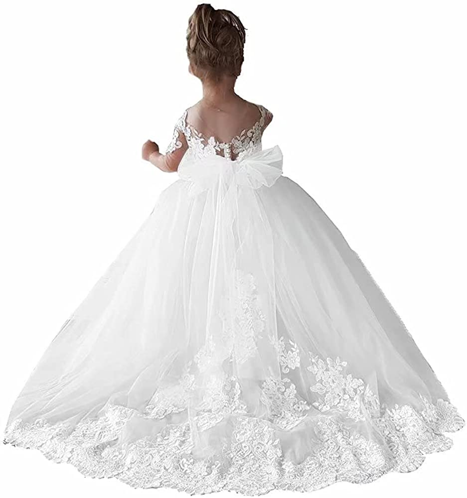 Princess Champagne Long Flower Girls Pageant Dresses Kids Prom Puffy Tulle Ball Gown FS0048