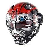 COPPER Casco de Motocicleta Súper Personalidad Iron Man Casco Integral Estilo Retro Harley Transformers Casco Facial Boy Helmet 3D