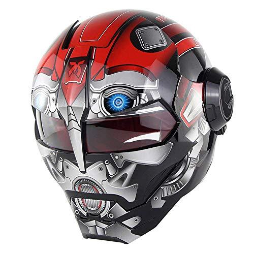 COPPER Motorradhelm Super Persönlichkeit Iron Man Integralhelm Retro Stil Harley Transformers Integralhelm Boy Helm 3D