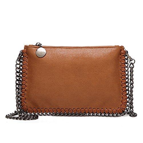 Angleliu Damen PU lässigen Kette Handtasche Modisch Schultertaschen Glitzer Beuteltasche (Kleine braune Tasche)