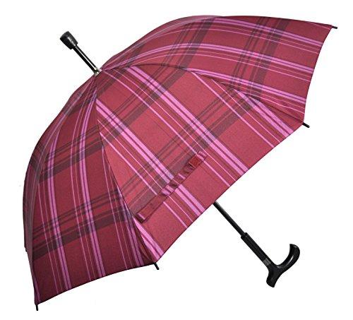 Regenschirm Stützschirm Gehstock Gehhilfe mit Fritzgriff & Gummipuffer karo rot